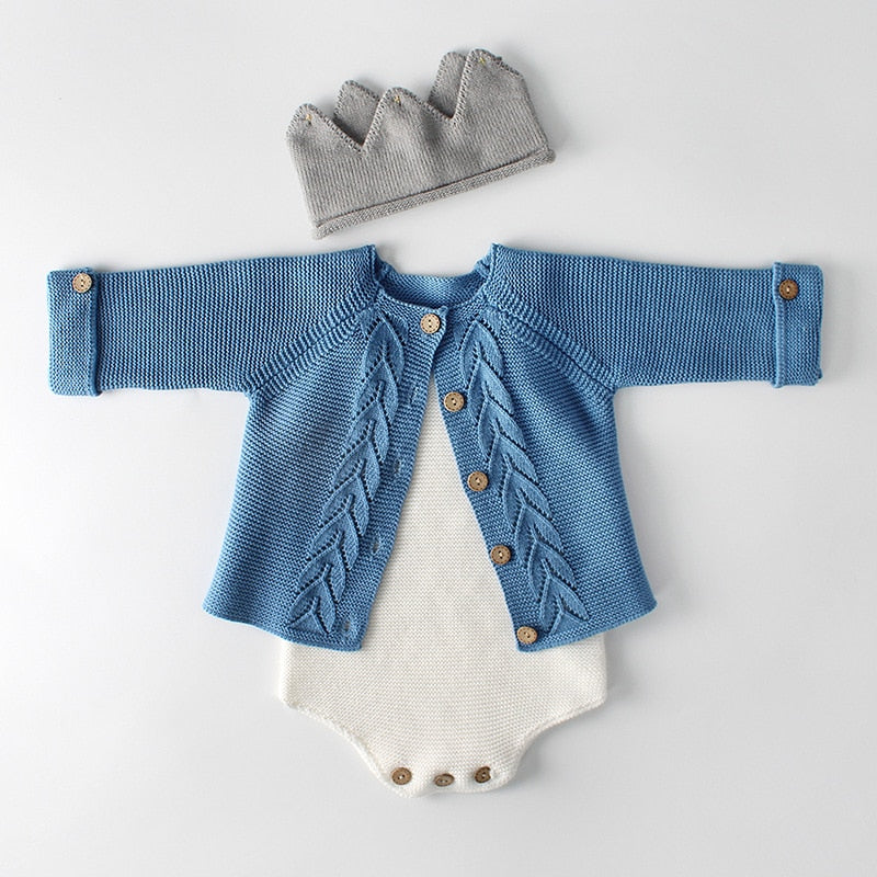 Soft Cable Knit Cardigan Blue