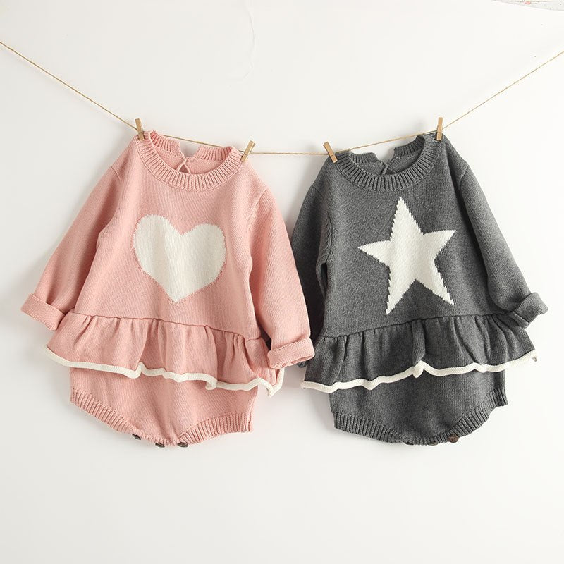 Heart and Star Knitted Long Sleeve Romper