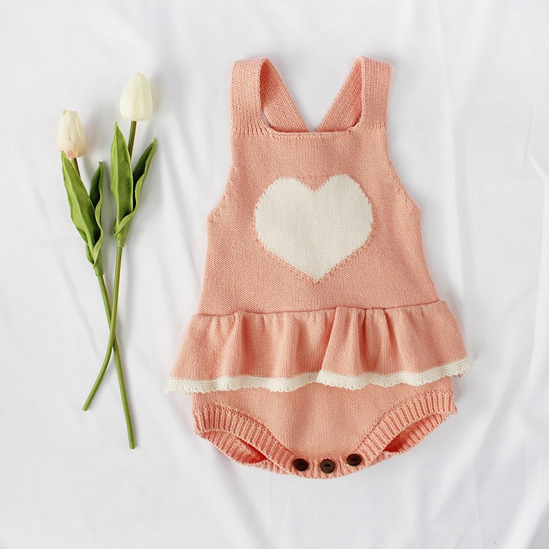Knitted Heart Sleeveless Romper