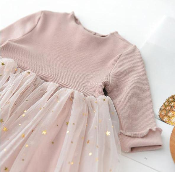 Long Sleeved Star Sparkles Tutu Dress
