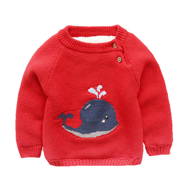 Knitted Whale Fur Lined Sweater