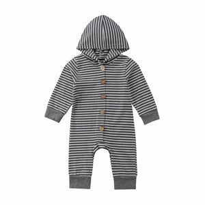 Basics Hooded Button Long Sleeve Jumpsuit