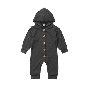 Essentials Hooded Button Long Sleeve Jumpsuit