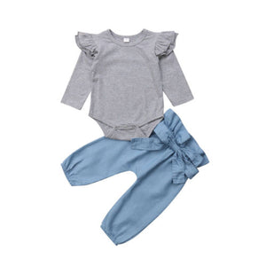 Frill Cap Romper & Bow Pants Set