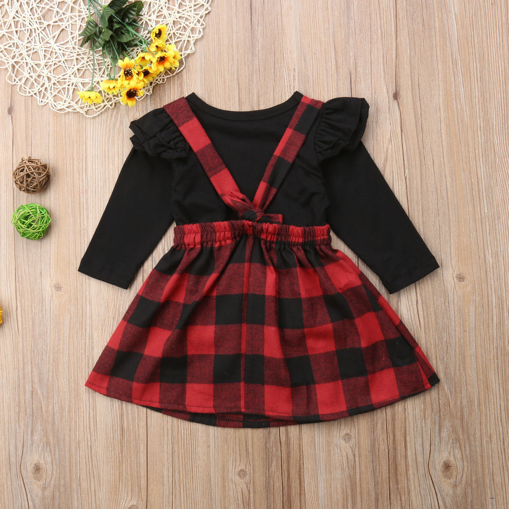 Plaid Straps Dress & Top Set