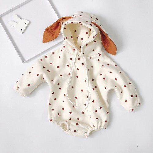 Hooded Bunny Polka Dot Romper