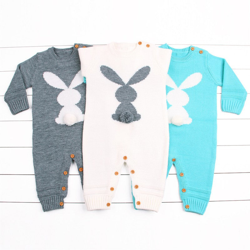 Cute Rabbit Knitted Long Sleeved Jumpsuit