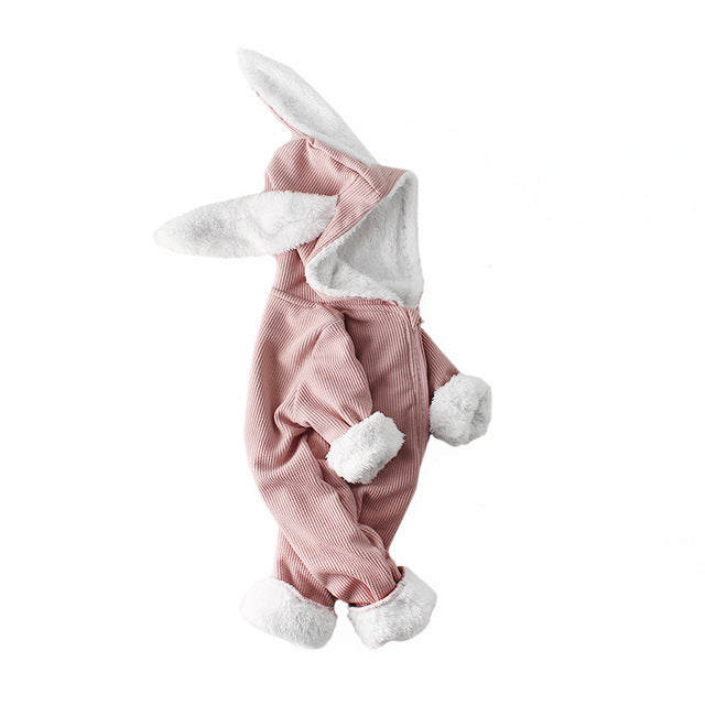 New Thick Winter Hooded Rabbit Jumpsuit