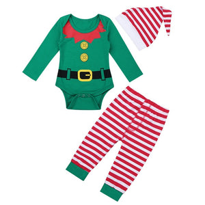 Baby Elf Romper, Pants & Hat Set