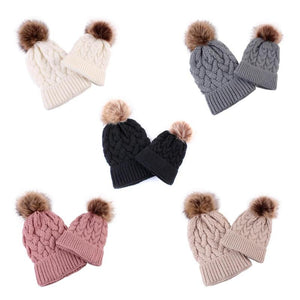 Matching Mommy & Baby Knitted Pompom Hats
