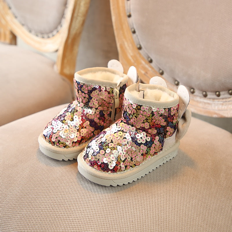 Sequin Fur Lined Snow Boots