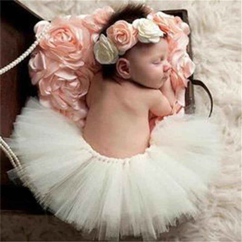 Tutu & Floral Headband Set, Newborn Photography Props