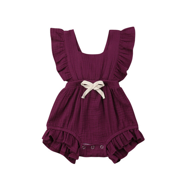 Ruffle Bow Summer Romper, Various Colors
