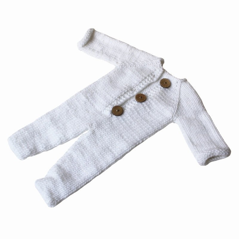Knitted Button Jumpsuit, Newborn Photography Props