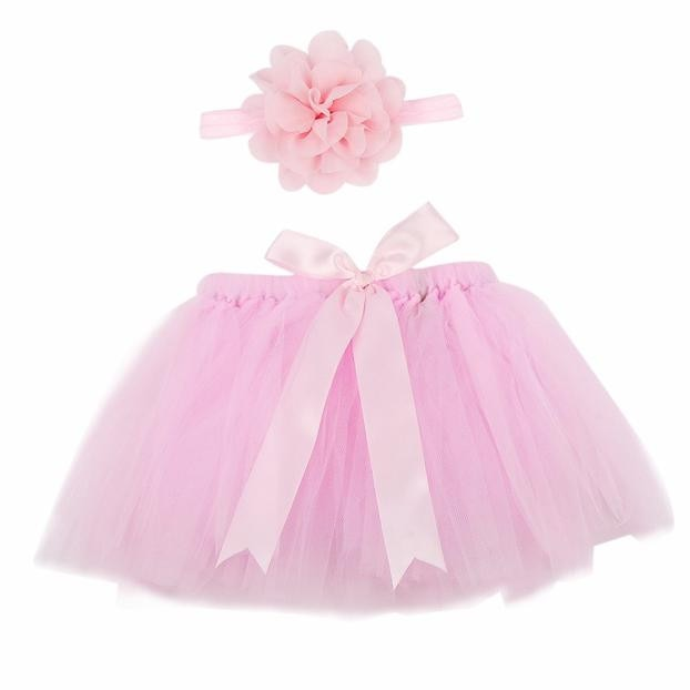 Pink Tutu & Floral Headband Set, Newborn Photography Props