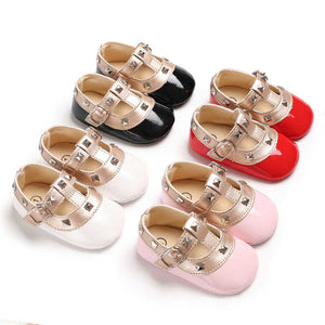 Patent Stud Baby T-bar Shoes