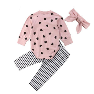 Valentines Heart Romper, Stripe Leggings & Headband Set