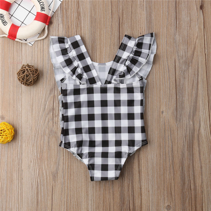 Ruffle Plaid Baby Swimsuit