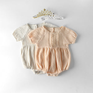 Summer Gauze Lace Trim Romper