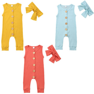 Bright Ribbed Button Jumpsuit & Headband Set