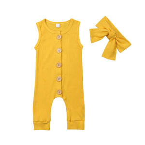 Basics Bright Button Jumpsuit & Headband Set