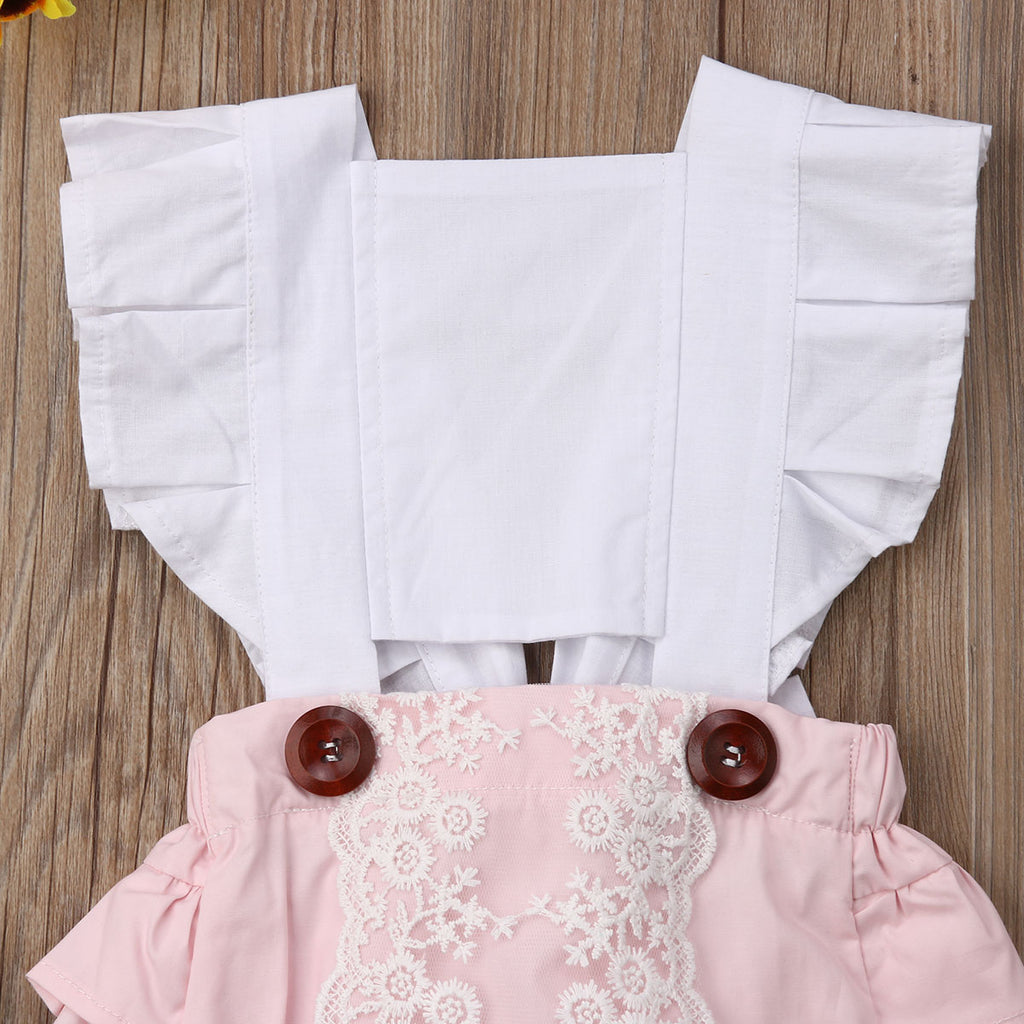 Pinafore Style Ruffle Button Romper