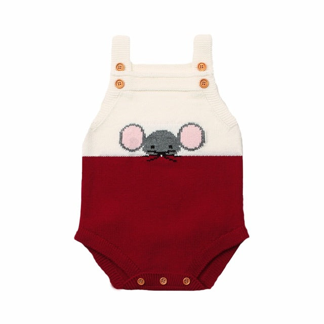 Cute Mouse Sleeveless Knit Romper