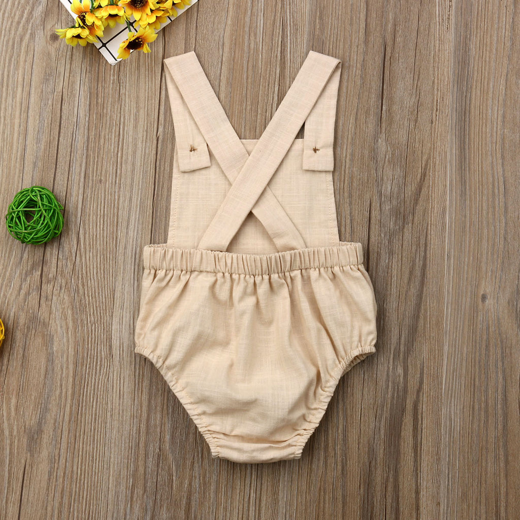 Natural Unisex Cross-Back Romper