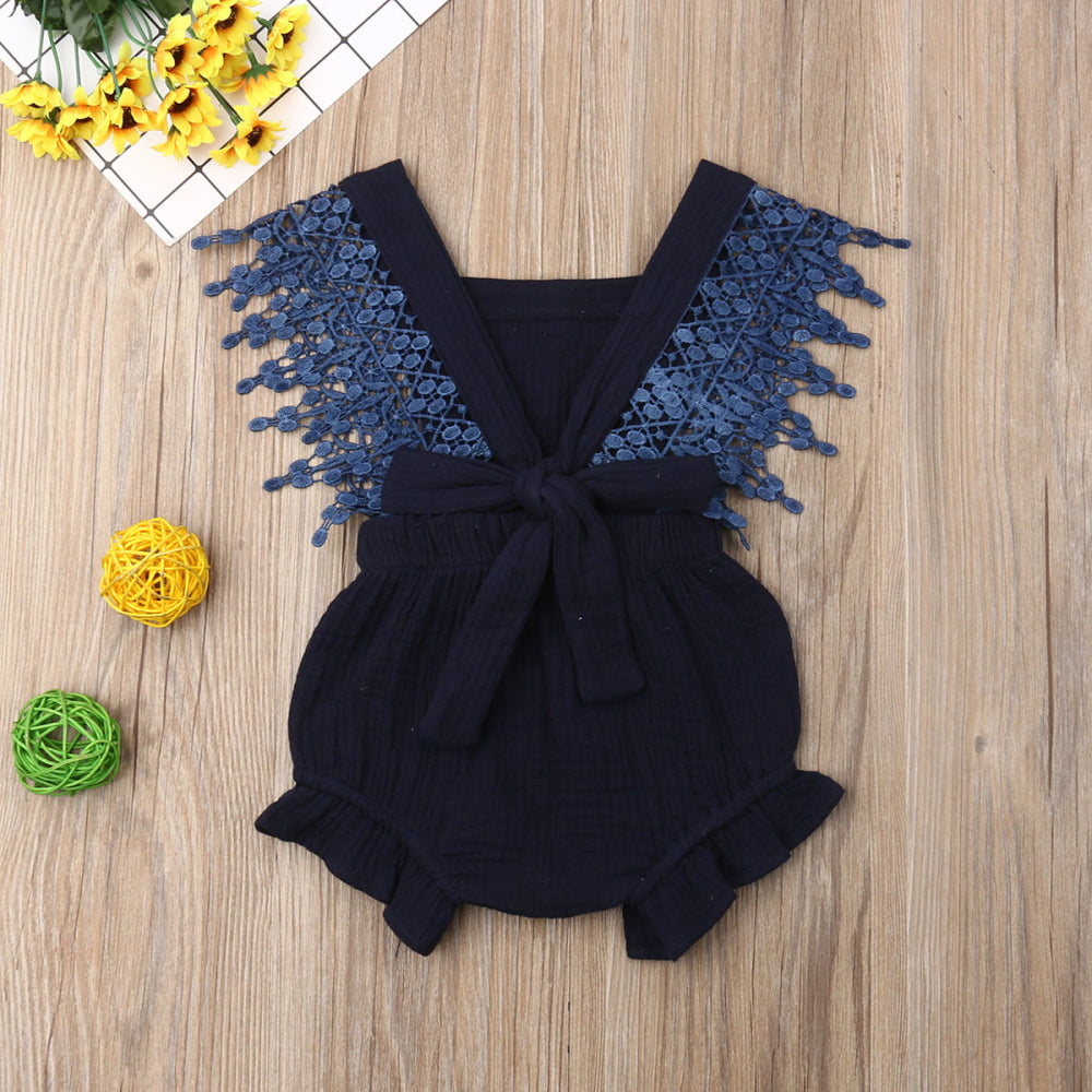 Lace Trim Beautiful Bow Romper