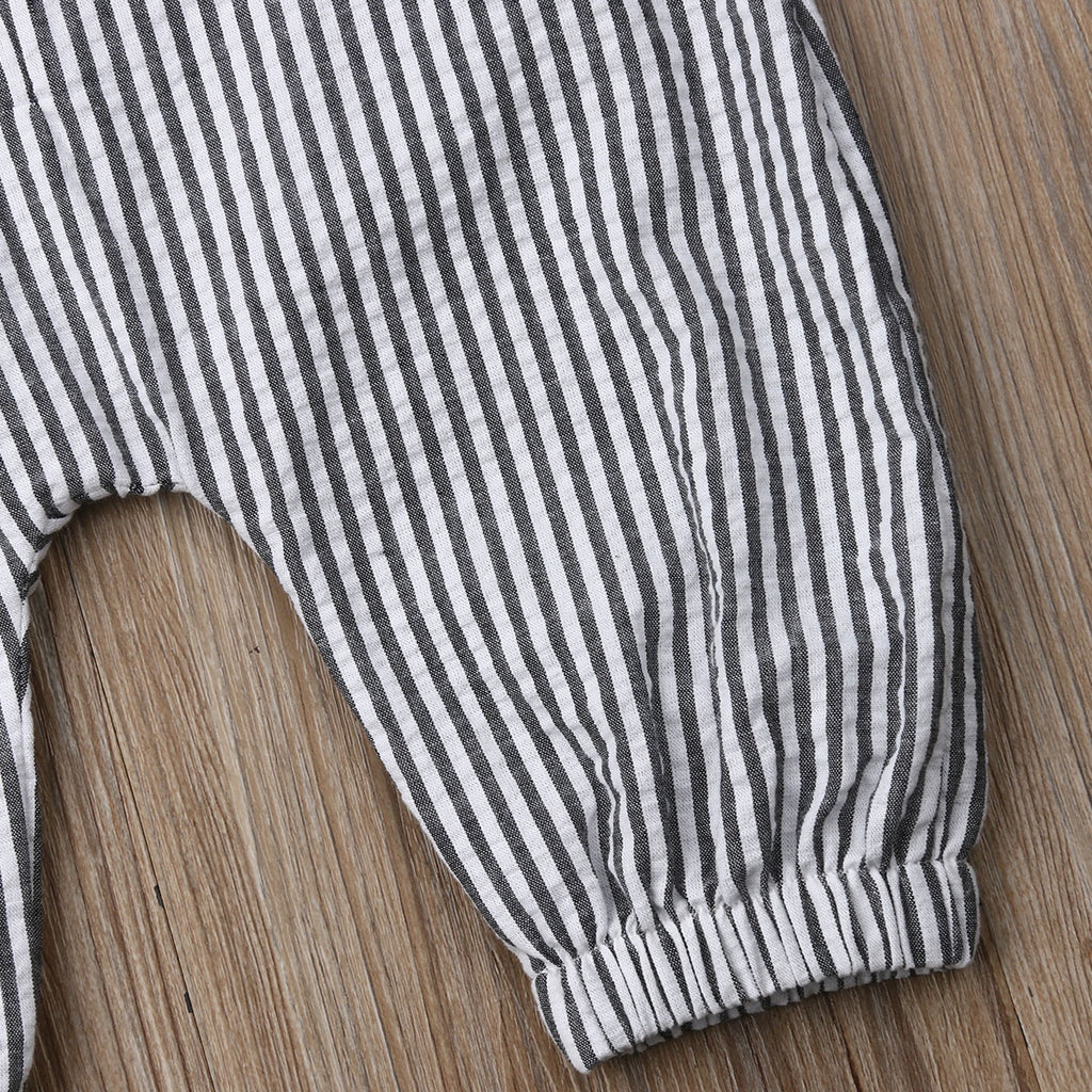 Basics Striped Button Jumpsuit