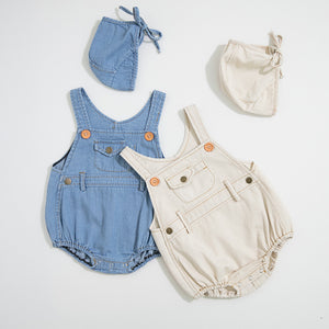 Cute Denim Romper & Bonnet Set