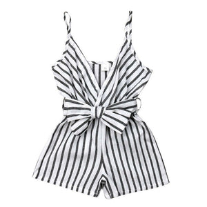 Pinstripe Bow Front Playsuit