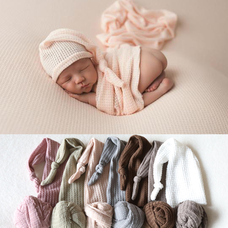 Soft Flannel Hat & Wrap Set, Newborn Photography Props