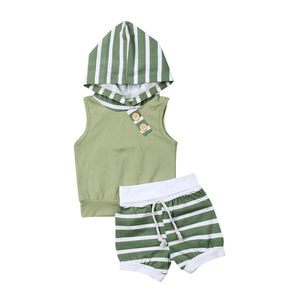 Summer Stripe Hooded Top & Shorts Set