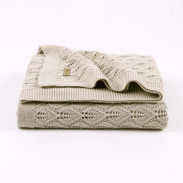 100% Cotton Leaf Knitted Baby Blanket