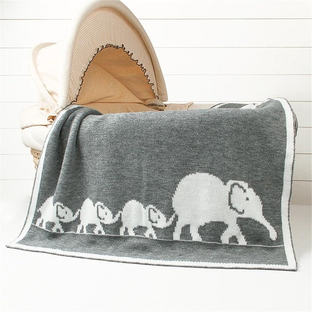 Knitted Elephant Baby Blanket