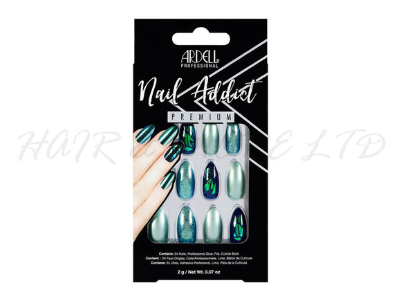 Ardell Nail Addict, Green Glitter Chrome - 24 Pack