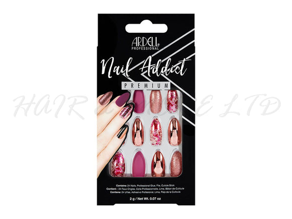 Ardell Nail Addict, Chrome Pink Foil - 24 Pack
