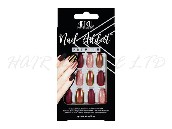 Ardell Nail Addict, Red Cateye - 24 Pack