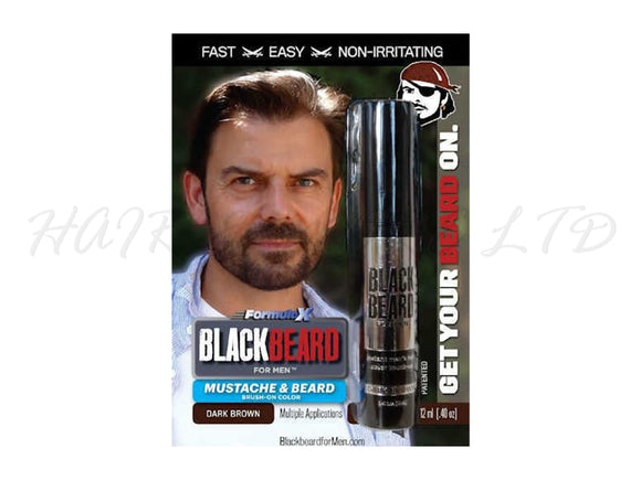 Blackbeard for Men, Brush on Mustache & Beard Colour - Dark Brown