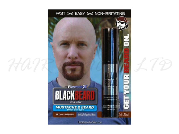 Blackbeard for Men, Brush on Mustache & Beard Colour - Brown/Auburn