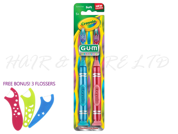 Gum Metallics Crayola Toothbrush, Suction Base 2pk (Blue/Red)