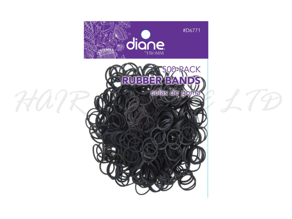 Diane Bulk Hairdressing Black Hair Bands - 500 Pack
