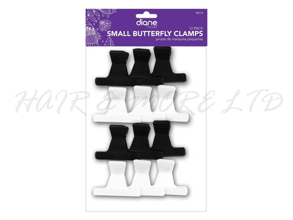 Butterfly Clips - Pack of 12 Small (Black/White) D14