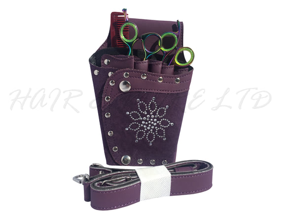 Scissor Holster Leatherette - Purple Bling