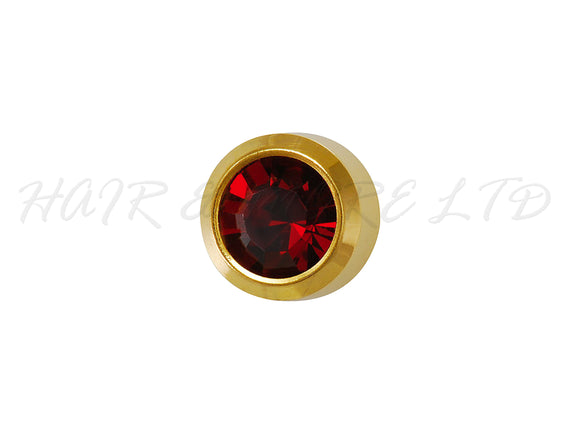 Studex Gold Plated Birthstone Earrings, 1 Pair 3mm - January (Garnet)