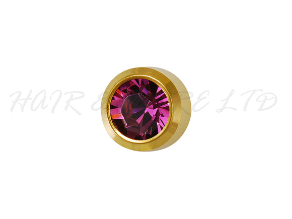 Studex Gold Plated Birthstone Earrings, 1 Pair - February (Amethyst)