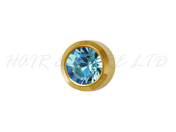 Studex Gold Plated Birthstone Earrings, 1 Pair - March (Aquamarine)