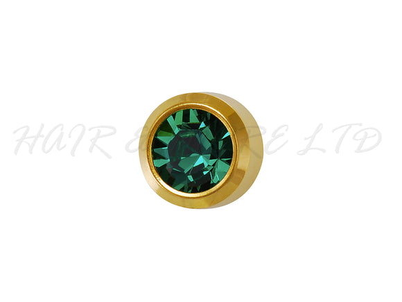 Studex Gold Plated Birthstone Earrings, 1 Pair 3mm - May (Emerald)