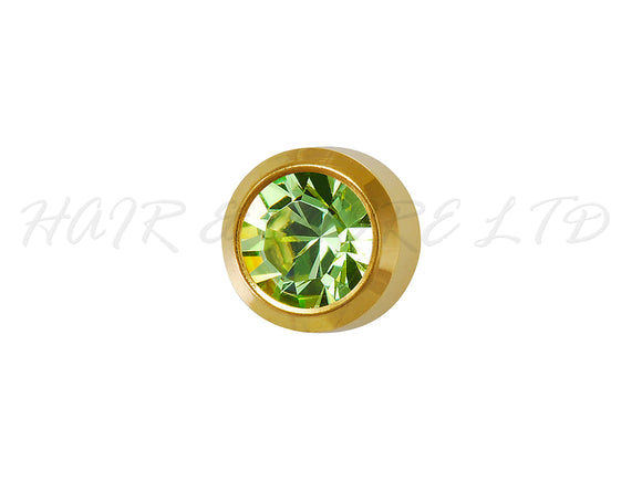Studex Gold Plated Birthstone Earrings, 1 Pair 3mm - August (Peridot)
